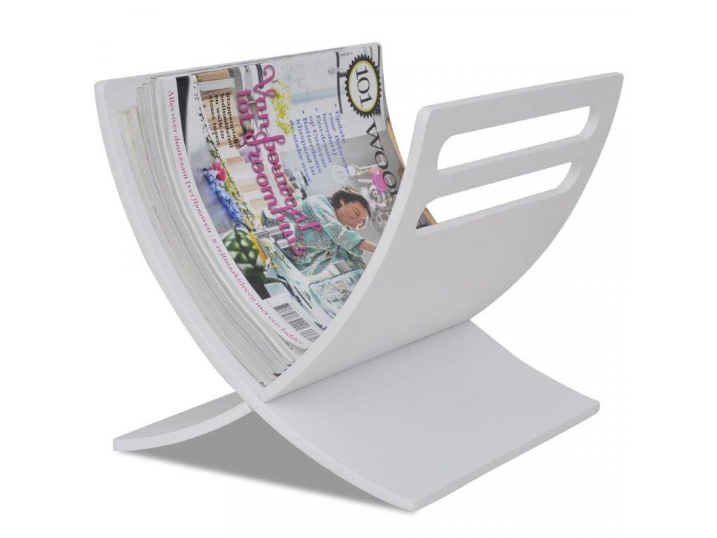 Stojan na časopisy dřevěný, volně stojící, bílý