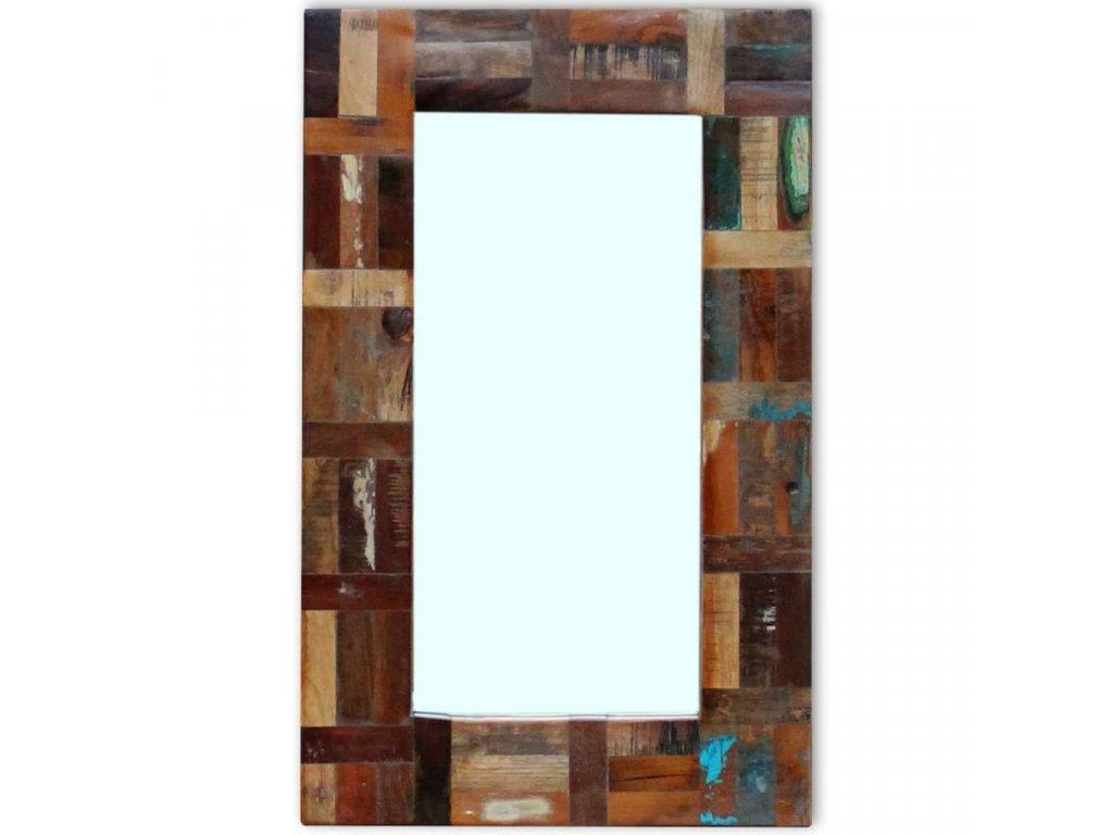 Zrcadlo masivní recyklované dřevo 80 x 50 cm