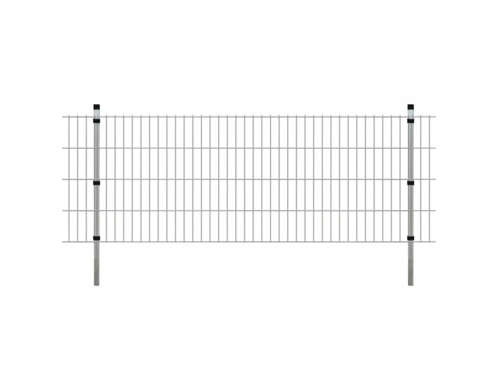 2D Zahradní plotové dílce a sloupky 2008x830 mm 10 m stříbrné