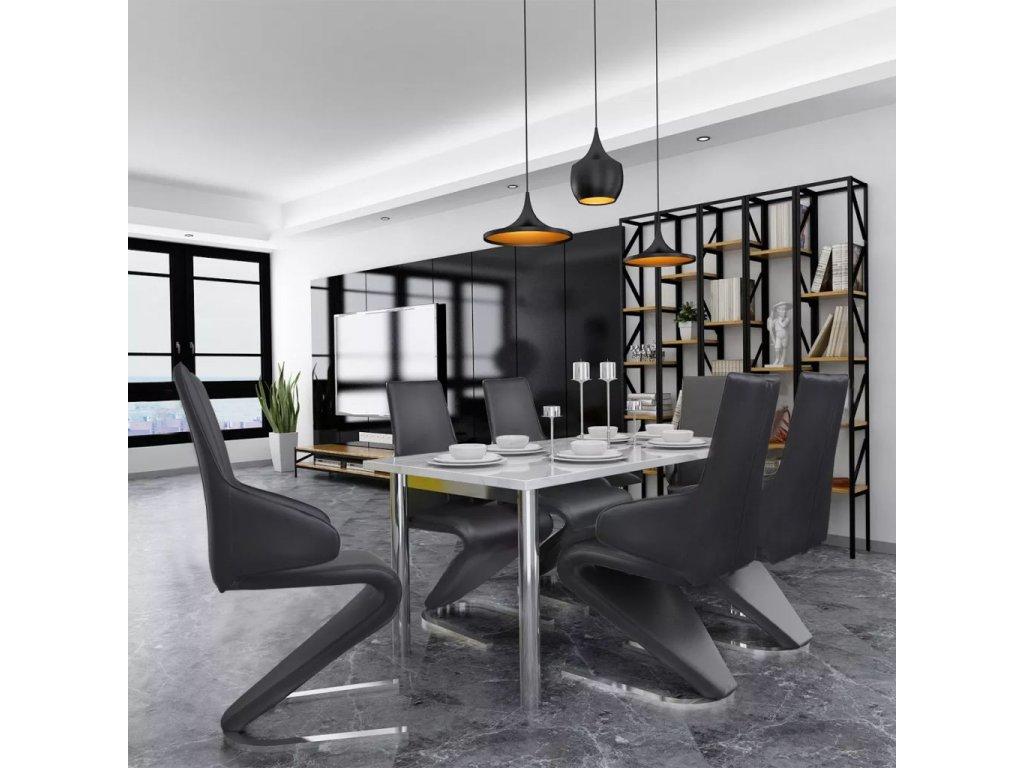 Jídelní židle 6 ks černé umělá kůže