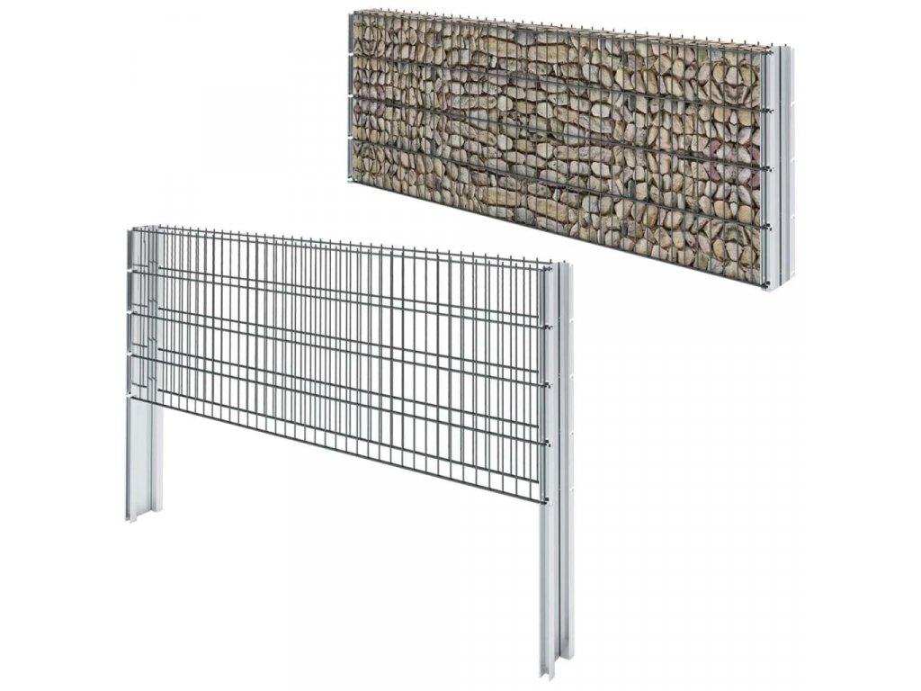 2D gabion plot pozinkovaná ocel 2,008x0,83 m 2m (celková délka)