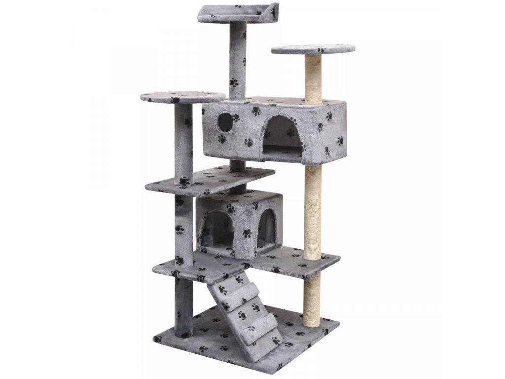 Škrabadlo pro kočky, sisalové sloupky 125 cm šedá potisk tlapek