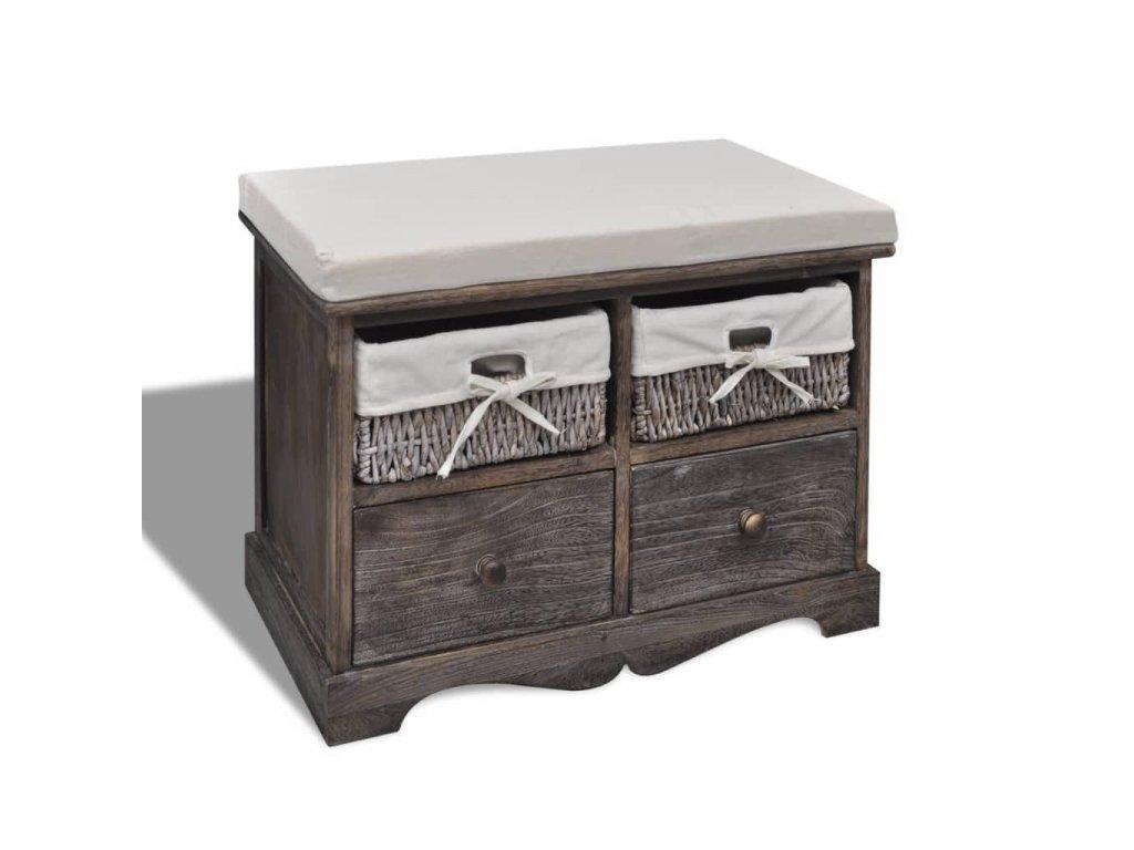 Úložná lavice hnědá 62 x 33 x 42 cm dřevo pavlovnie