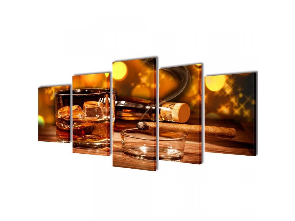 Sada obrazů, tisk na plátně, motiv whisky a doutník, 200 x 100 cm