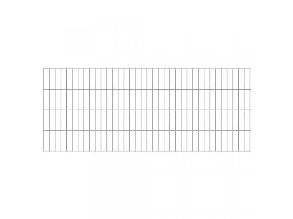 2D Zahradní plotové dílce a sloupky 2008x830 mm 22 m stříbrné