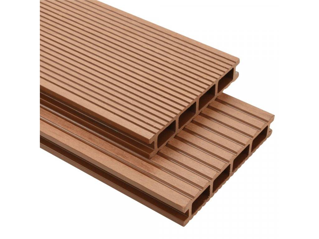 WPC podlahová prkna na terasu + příslušenství 30 m² 2,2m hnědá
