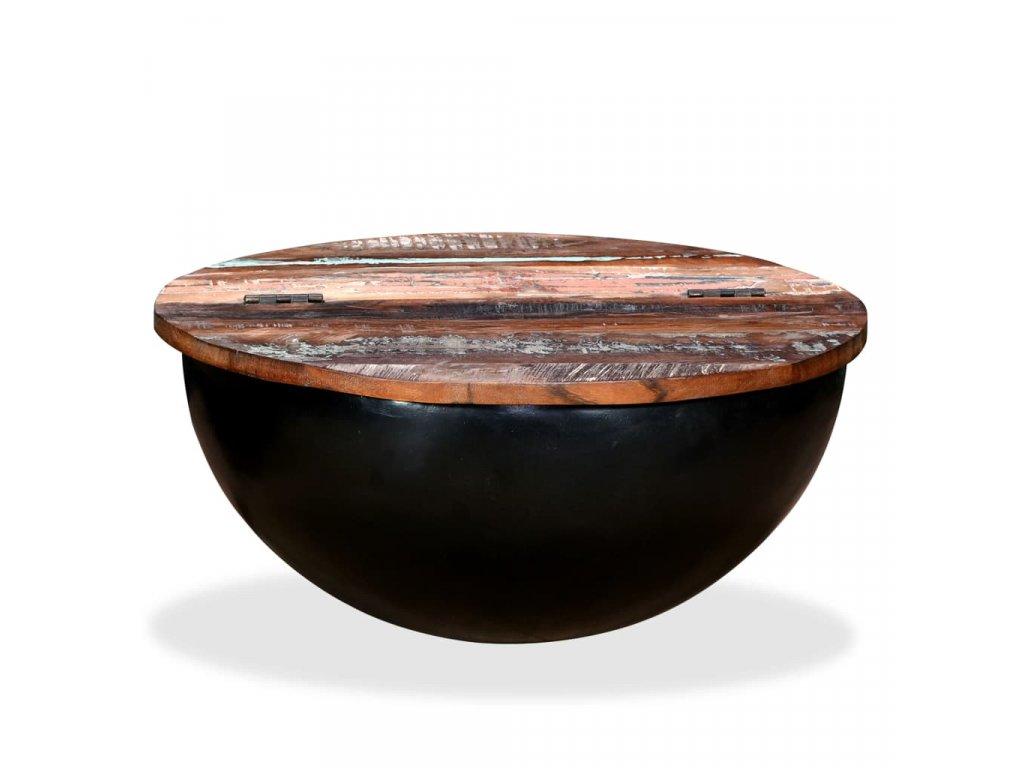 Konferenční stolek, masivní recyklované dřevo, černý, tvar misky