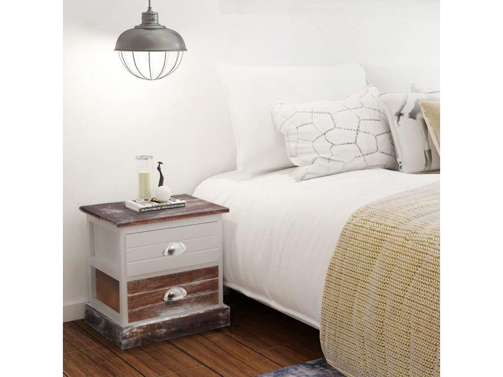Noční stolek dřevěný hnědý a bílý