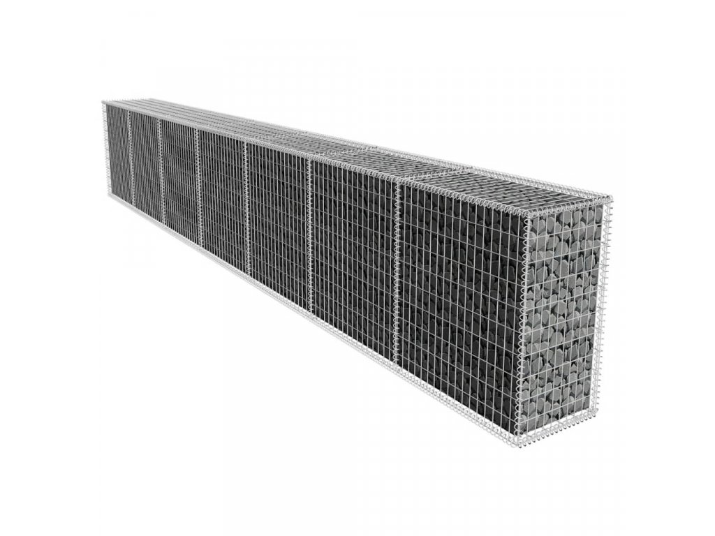 Gabionová zeď s víkem pozinkovaná ocel 600 x 50 x 100 cm