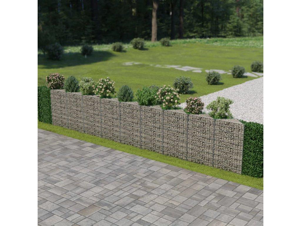 Gabionová zeď z pozinkované oceli 630 x 30 x 100 cm