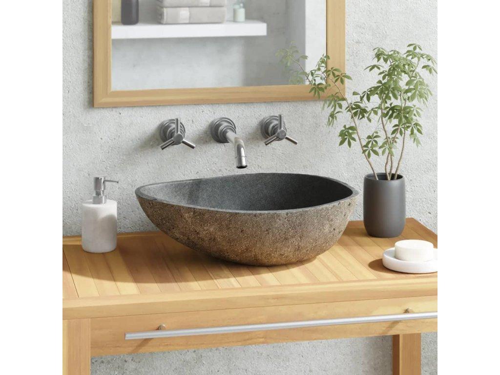 Umyvadlo z říčního kamene oválné 38–45 cm
