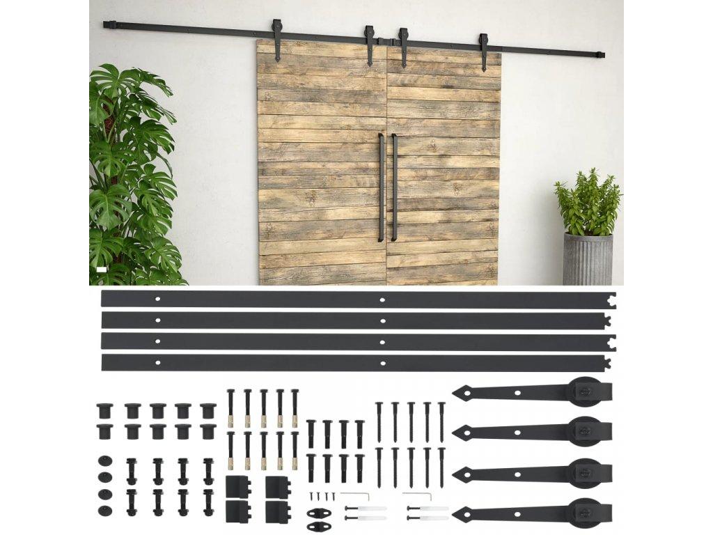 Sada příslušenství pro posuvné dveře 2 x 183 cm ocelová černá