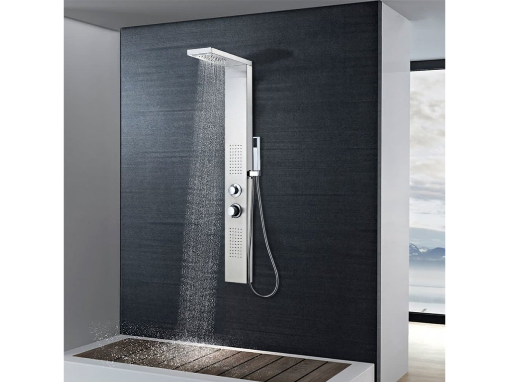 Sprchový panel set z nerezové oceli s čtvercovým designem