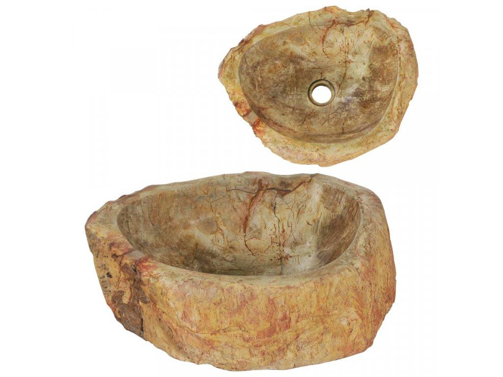 Umyvadlo 45 x 35 x 15 cm fosilní kámen krémové