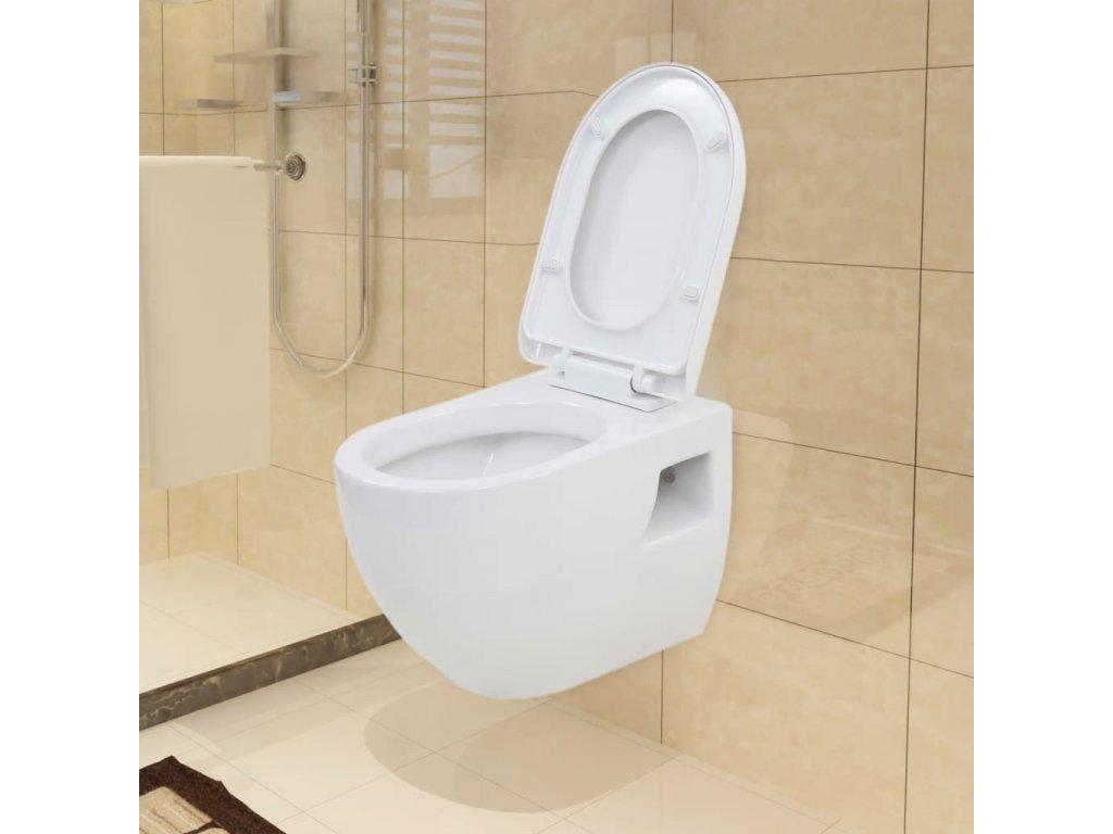 Závěsná toaleta keramická bílá