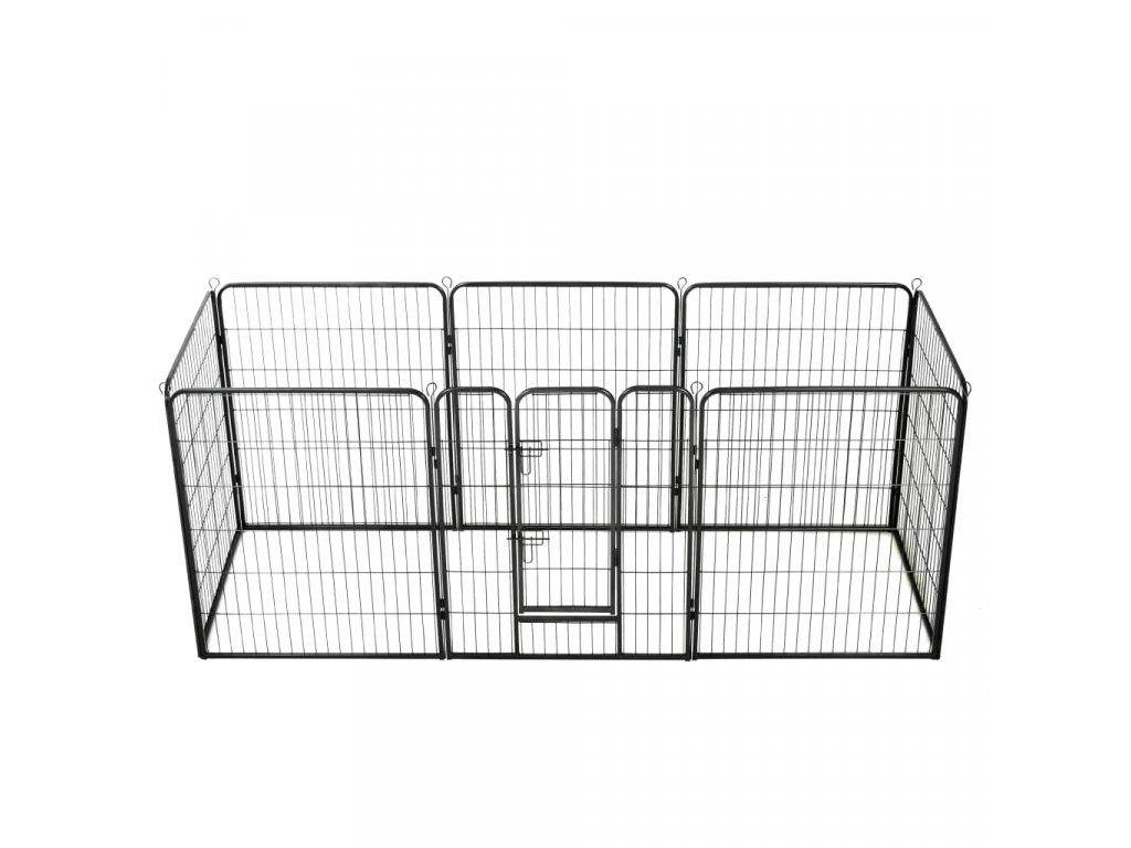 Ohrádka pro psy 8 panelů ocelová 80 x 100 cm černá
