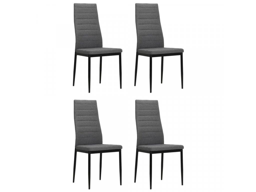 Jídelní židle 4 ks světle šedé textil