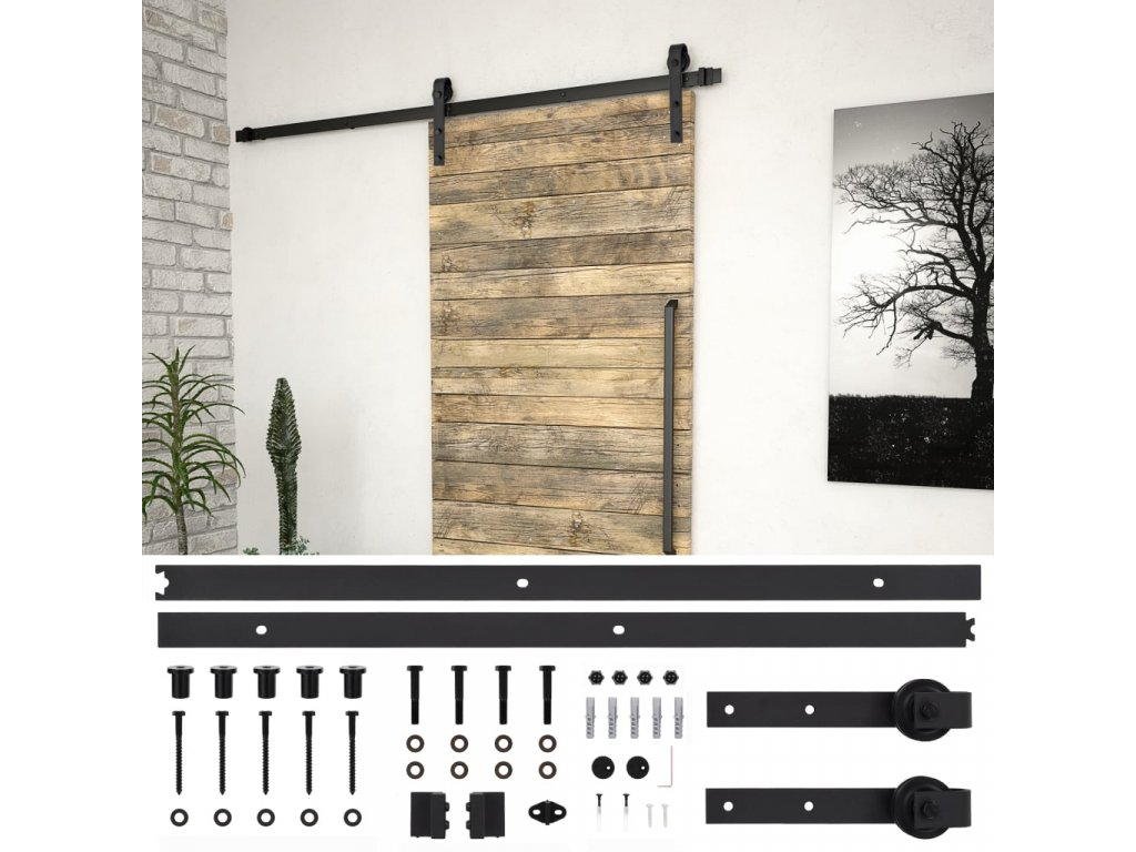 Sada příslušenství pro posuvné dveře 183 cm ocelová černá