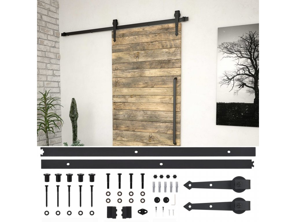 Sada příslušenství pro posuvné dveře 200 cm ocelová černá