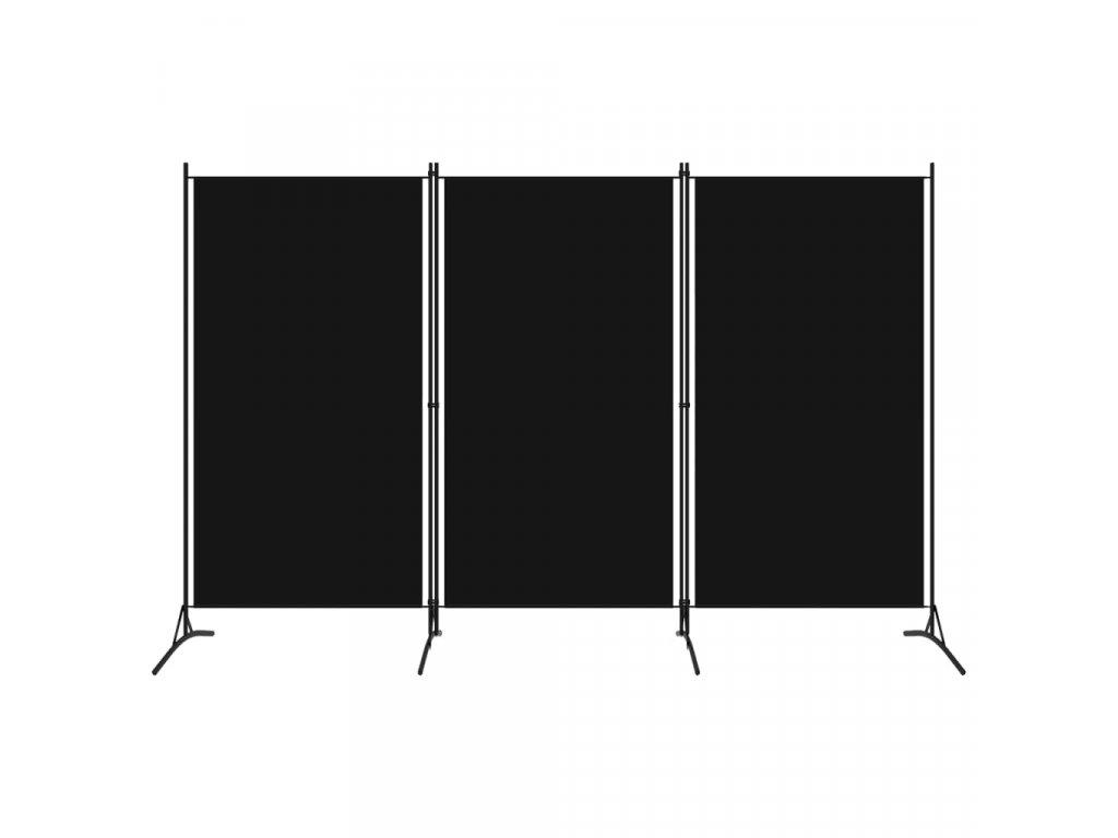 3dílný paraván černý 260 x 180 cm