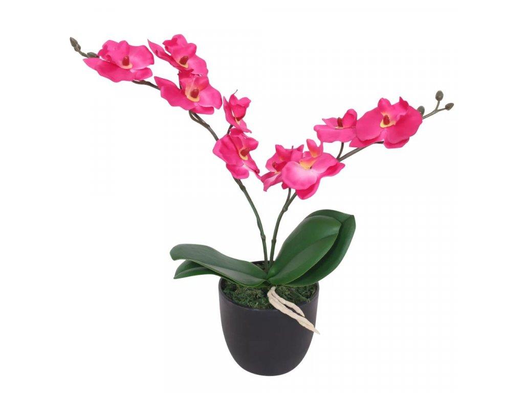 Umělá rostlina orchidej s květináčem 30 cm červená