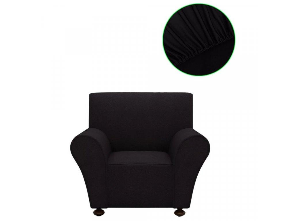 Strečový potah na křeslo, černý polyesterový žerzej