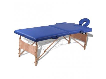 Modrý skládací masážní stůl se 2 zónami a dřevěným rámem