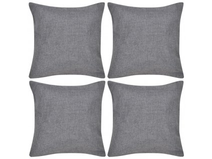 4 antracitové povlaky na polštářky, se vzhledem lnu 40 x 40 cm