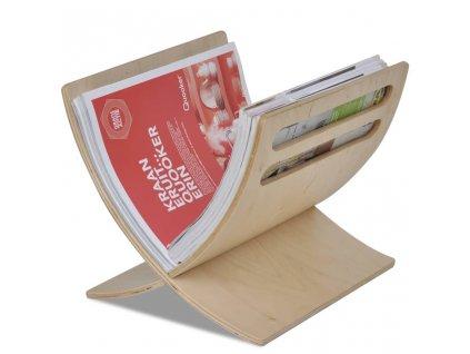 Stojan na časopisy dřevěný, volně stojící, přírodní odstín
