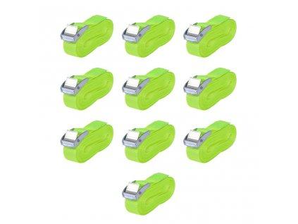 Upínací pásy, 10 ks, 0,25 tuny, 5mx25mm, zářivě zelené
