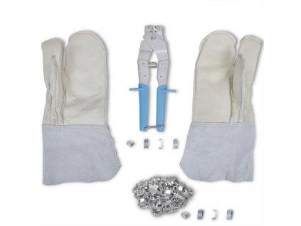 Sada na montáž NATO žiletkového drátu: Kleště, rukavice & 200 svorek