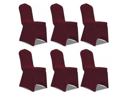 Potahy na židle strečové vínové 6 ks