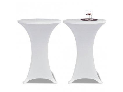 Potahy na koktejlový stůl Ø 60 cm, bílé strečové, 2 ks