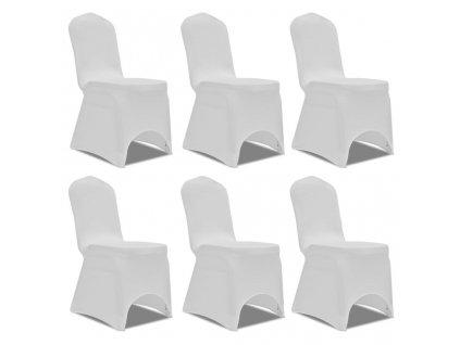 Potahy na židle strečové bílé 6 ks