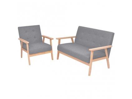 2dílná sedací souprava, světle šedé textilní čalounění