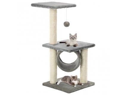 Škrabadlo pro kočky se sisalovými sloupky 65 cm šedé