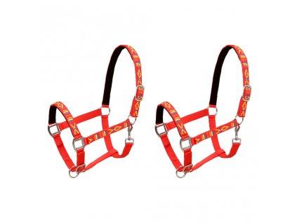 Ohlávky na koně 2 ks nylonové velikost full červené