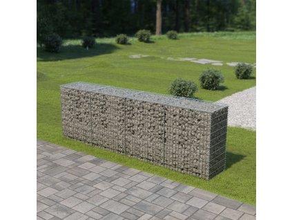 Gabionová zeď s víky z pozinkované oceli 300 x 50 x 100 cm