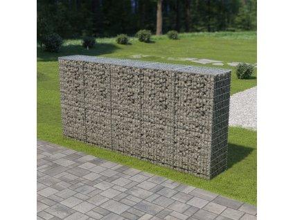 Gabionová zeď s víky z pozinkované oceli 300 x 50 x 150 cm