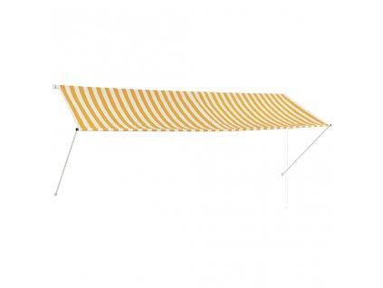 Zatahovací markýza žluto-bílá 350 x 150 cm