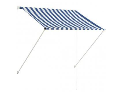 Zatahovací markýza 150 x 150 cm modro-bílá