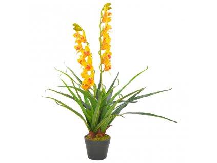 Umělá rostlina orchidej s květináčem žlutá 90 cm