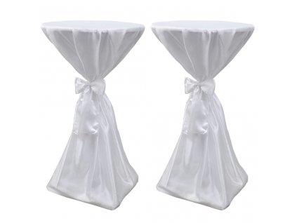 Potahy na stůl bílé, 70 cm, s mašlí, 2 ks