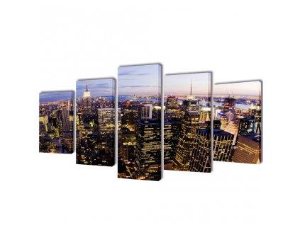 Sada obrazů, tisk na plátně, panoráma New Yorku, 200 x 100 cm