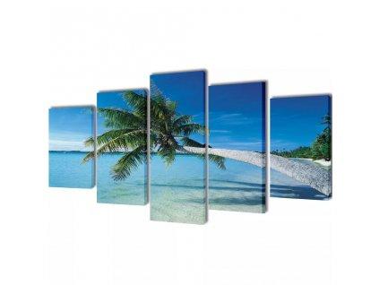 Sada obrazů, tisk na plátně, písečná pláž s palmou, 100 x 50 cm