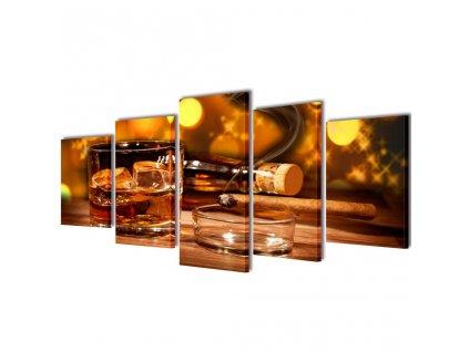 Sada obrazů, tisk na plátně, motiv whisky a doutník, 100 x 50 cm