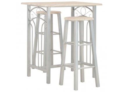 3dílný barový set dřevo a ocel