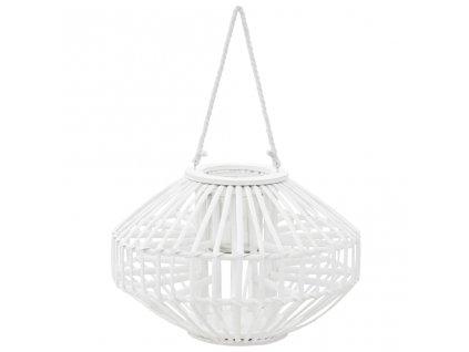Závěsná lucerna na svíčku proutěná bílá