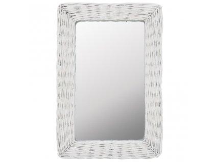Zrcadlo s proutěným rámem 40 x 60 cm bílé