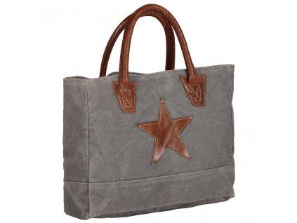 Shopper kabelka tmavě šedá 32x10x37,5 cm plátno a pravá kůže